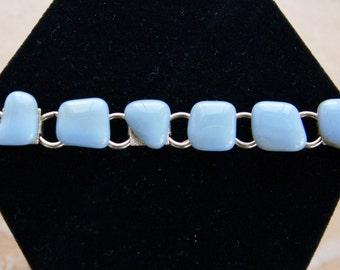 Vintage Blue Agate Bracelet, Semi-Precious