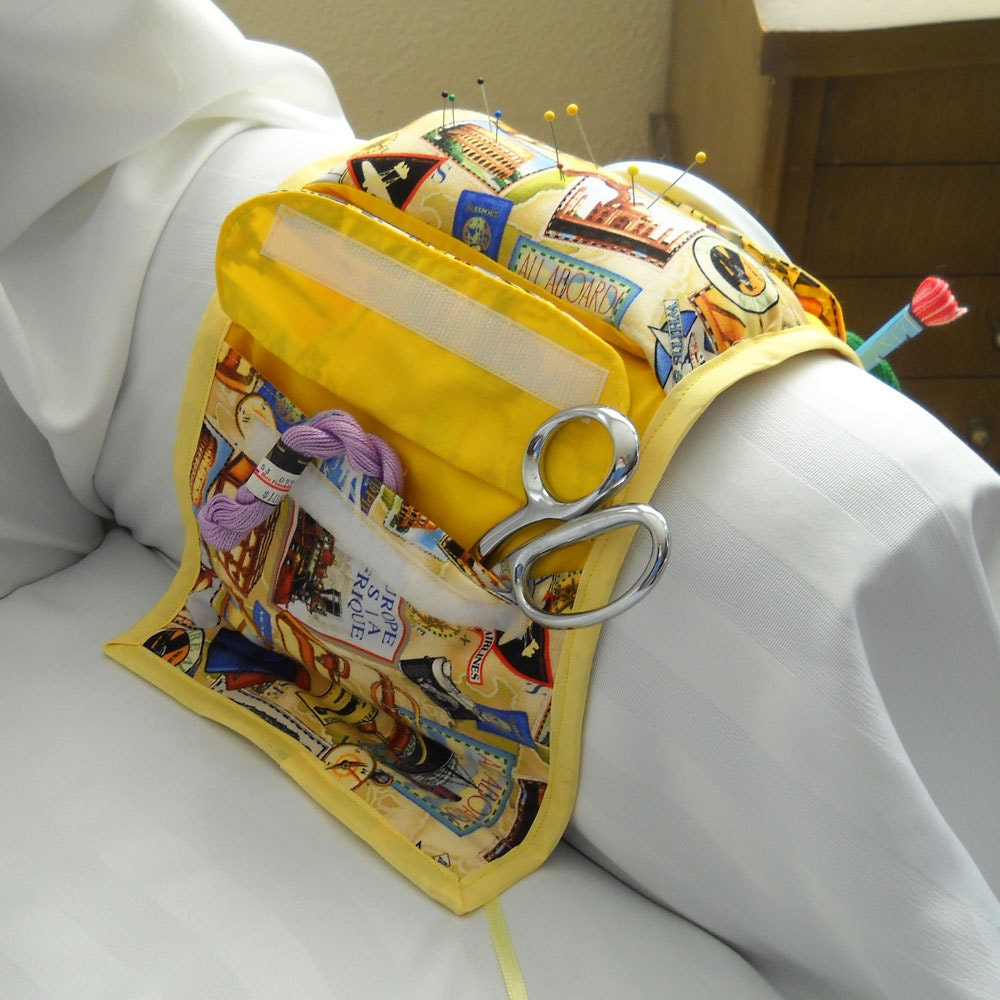 Grand Tour Yellow Armchair Caddy Sewing Organizer SALE