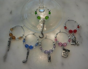 Dentist Dental Hygienist Wine Charms w pouch