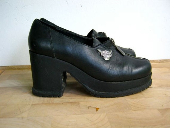 Vintage HARLEY DAVIDSON shoes // chunky black leather // zippers // 9.5
