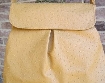 Sweet Pea Purse in Mustard Faux Ostrich