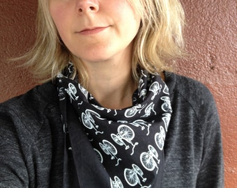 Black Bike Bandana, Bike Scarf, cotton bandanas, hand printed bandanas, reusable cloth, also available cream, red, kelly green and grey