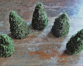 pine cone trees & mountains in forest green - set of five / rustic - woodland -christmas home decoration/ ooak