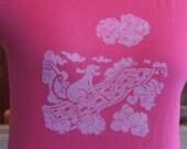 Dog on Flying Carpet Tee Shirt (cotton)- Original wood cut block print -Women Girls- many sizes colors