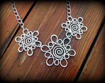 Triple Snowflake Sunburst Necklace Hand Wire Wrapped - Choose Your Own COLOR