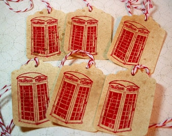 Gift Tags - Phone Booth - Red - Vintage Style