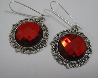 Ruby Red Gem Earrings on White Brass (E-436)