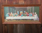 ON HOLD for MAGIBBS1 - Kitschy Vintage Last Supper Wall Hang - Large with Vibrant colors