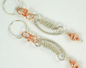 Link, handmade, Sterling silver and Copper wire, coiled and manipulated, contemporary, dangle, earrings