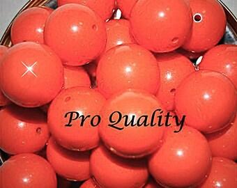 Vintage 10 Bright Orange Lucite Beads 18MM    CR3