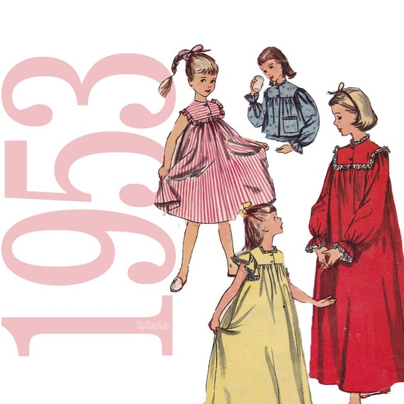 1950s Girls Nightgown Vintage Pattern - B25 - Simplicity 4484 - Sleepwear and Bed Jacket Sewing Pattern