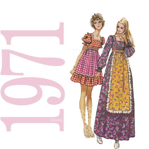 1970s Dress Vintage Pattern - B34 - Simplicity 9486 - 70s Boho Dress Sewing Pattern