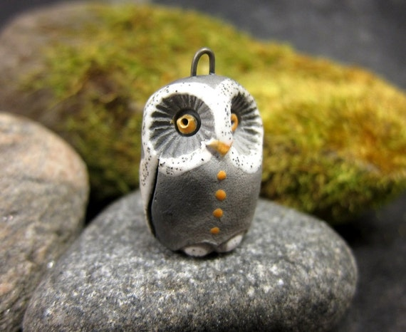 White Owl...Saggar Fired Rustic Pendant