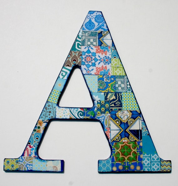 Wooden letters for nusery nursery letter a decoupage letter for Alphabet wall decoration