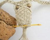 Macrame Hemp Owl Necklace Tie On