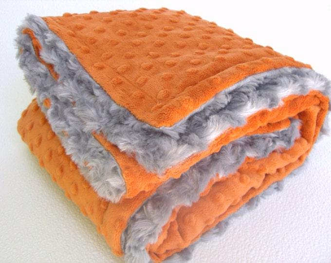 Burnt Orange and Gray Minky Baby Blanket - for boy