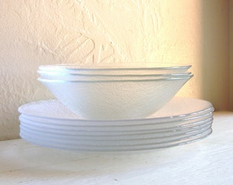 SALE - Set of 9 Clear Glass Bowls and Salad Plates Lunch Luncheon Dishes