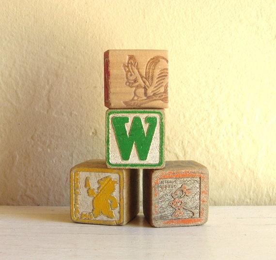 Vintage Children's Wooden Toy Blocks 4 Four Wood Building Blocks ABCs 123s