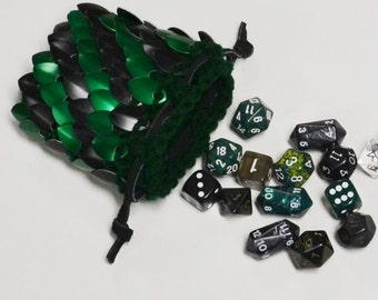 Scalemail Dice Bag Dragonhide Knitted Armor Striped Forest