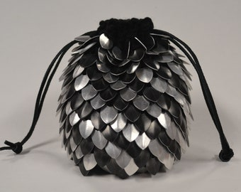 Scalemail Dice Bag of Holding Black and Silver Stripe in knitted Dragonhide Extra Large
