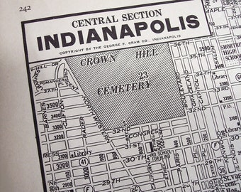 Old Indianapolis Indiana street map, vintage 1930s antique city map
