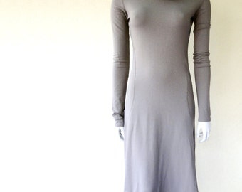 Long sweater dress, organic maxi dress, long shift dress, cowl dress, handmade clothing for women