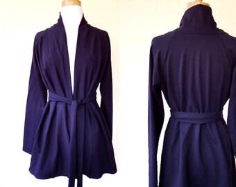 Long cardigan with shawl neckline, long tunic top, organic women's clothing