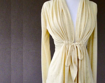 Linen knit cardigan , linen tunic top, butterscotch or natural linen jersey sweater, handmade clothing shop, made to order clothes