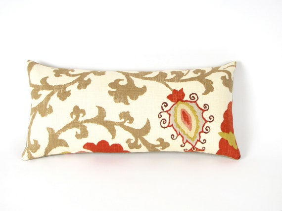 Suzani Spice Linen Pillow 8 by 17 inch