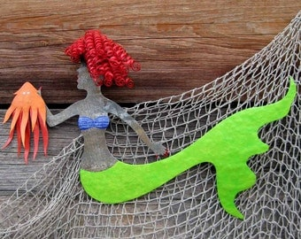Mermaid Metal Wall Art Sculpture Red Head Mermaid And Squid Lime Green Orange Beach House Coastal Wall Decor Bathroom Wall Art 14 x 18