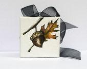 Thanksgiving Acorn Ornament Original Art - Hand Painted Rustic Home Decor  - Chocolate Brown