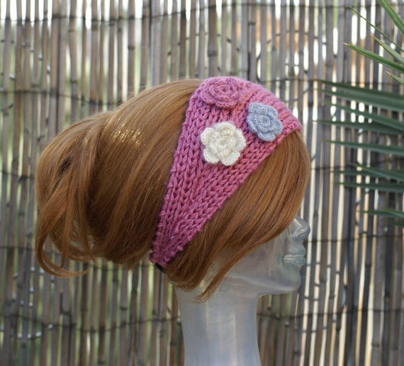 Handmade Knit Pink Head Wrap Earwarmer Headband with Crochet Three Flower-2