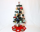 Christmas Table Top Feather Tree with Ornaments, Tree Skirt and Topper