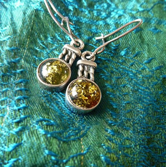 Sterling silver and green Baltic amber earrings