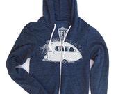 Unisex Vintage CAMPER Tri-Blend Navy Zip Hoody - American apparel all sizes XS S M L XL