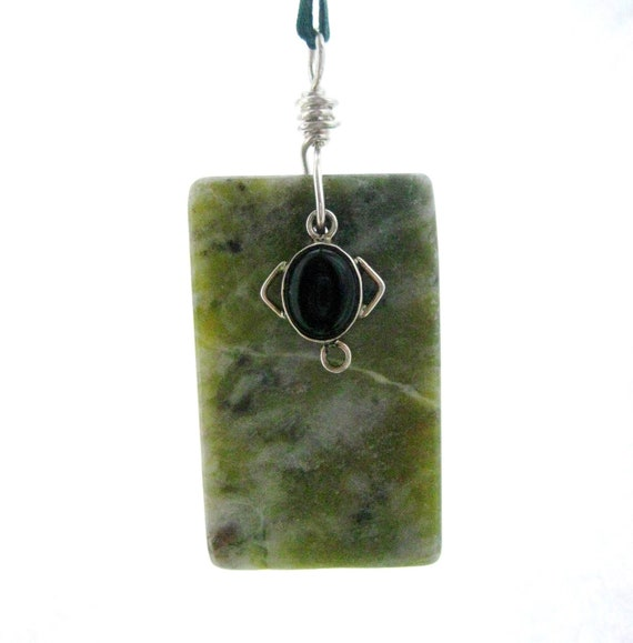 Connemara Marble Ornament. Sterling Silver, Irish Marble & Onyx. Christmas, Patrick's Day, Rear View Mirror