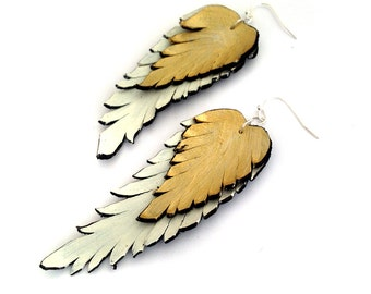 Feather earrings. Long dangle leather earrings. Beige and gold color