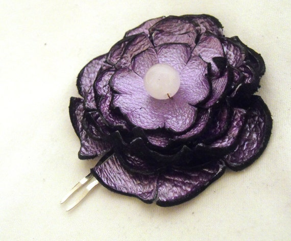 SALE Flower hair comb made from leather 1 pc