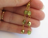 Peridot green earrings, Czech glass chain earrings, gold jewelry