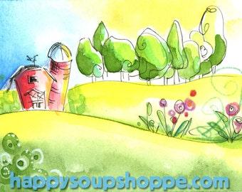3 Cards Vermont Sunshine Barn Happy Landscape Handpainted