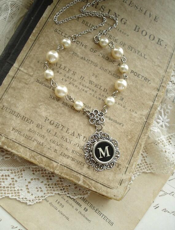 Typewriter Key Jewelry - Black Letter M Necklace. Vintage Typewriter Key Necklace. Antique Silver Filigree & Pearls. Monogram Necklace.