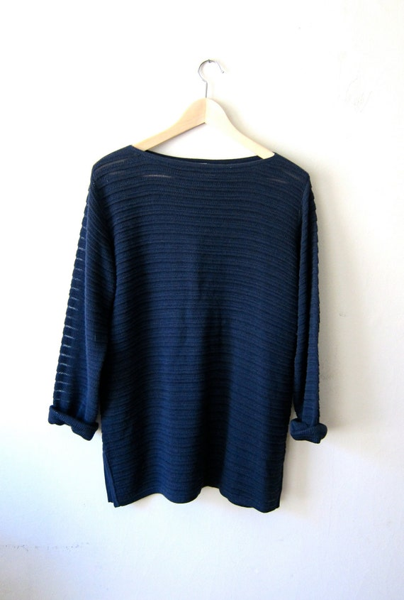 Slouchy Blue Knit 80's Sweater