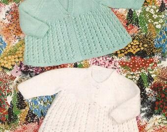 "PDF Knitting Pattern Baby Matinee Coat x 2 to fit sizes 18-19"" (X11)"