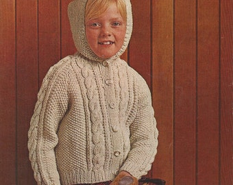 PDF Knitting Pattern Childrens Aran Hooded/Jacket/Cardigan (Z396)