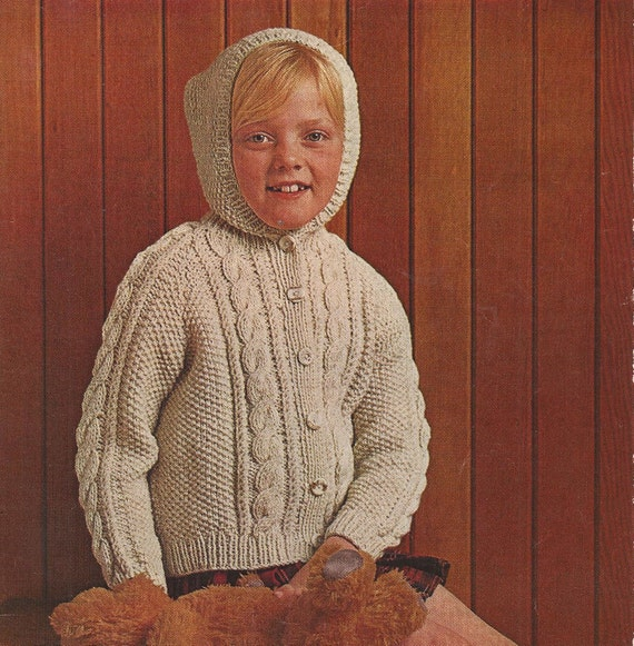 Knitting Pattern Child s Hooded Jacket : PDF Knitting Pattern Childrens Aran Hooded/Jacket/Cardigan