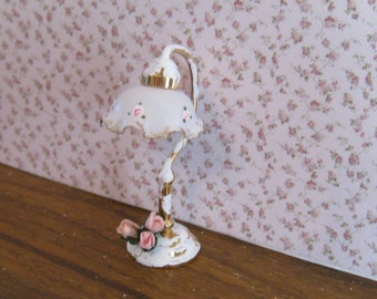 Dollhouse Lamp, tatty chic white, handpainted and decorated with  pink roses,  edged with gold trims, twelfth scale miniature
