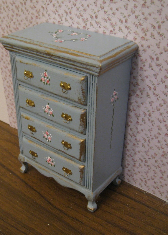 French duck egg blue chest of drawers,   with rose bouquets,  Twelfth scale dollhouse miniature