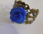 SALE -Royal Blue Rose Adjustable Ring