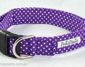 Dog Collar: Purple and White Polka Dot Dog Collar