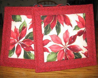 Quilted Poinsettia Pot Holders - Set of 2